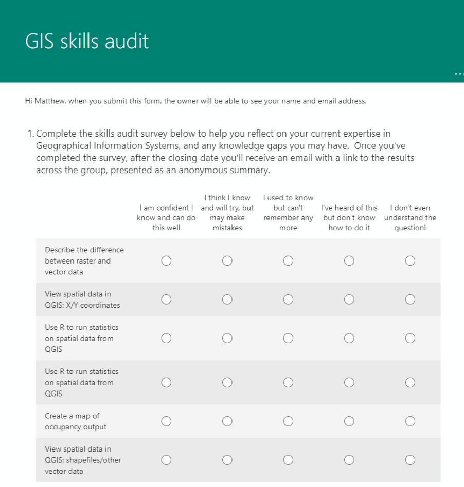 screenshot of designing or adapting ms survey