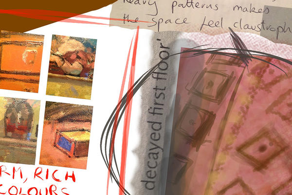 an art students work using the brushes 3 app on a tablet during a visit to the ashmolean museum