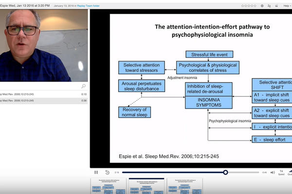 Screenshot from a lecture recorded using Replay software showing Professor Colin Espie and the flowchart he is explaining.