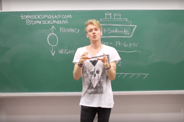 Screenshot from Tom Rocks Maths YouTube video on how many ping pong balls it would take to lift the titanic from the ocean floor.