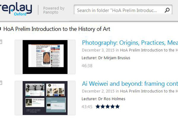 Screenshot of Lecture Capture (Replay using Panopto software) showing a series of art history lectures to watch.