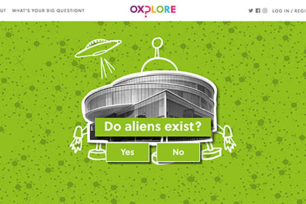Screenshot from the Oxplore website with a big question about aliens.