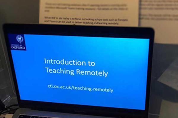 Presenting a webinar on a laptop