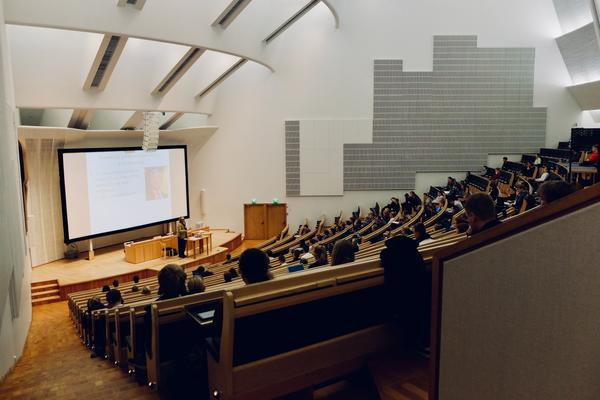 lecture theatre with students from the back