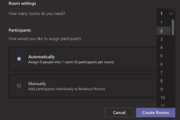 Create a break out room automatically or manually