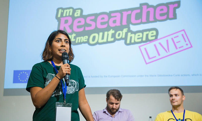 Three researchers presenting at the 'I'm a Researcher, Get Me Out of Here' live event at Curiosity Carnival 2017, Photo by Ian Wallman.